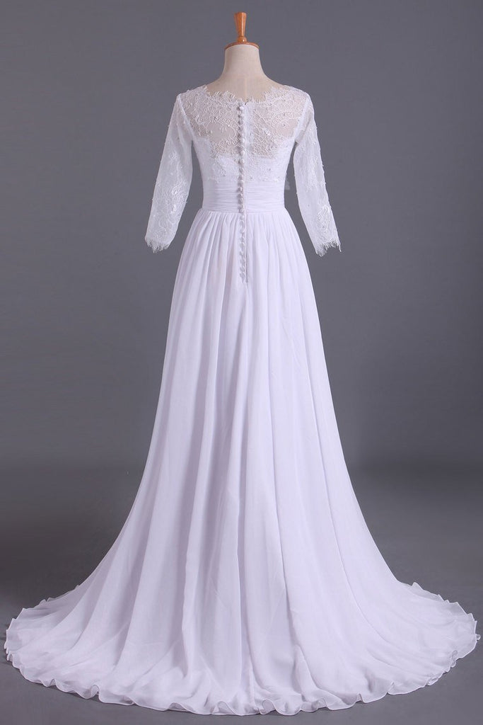 2019 Bateau 3/4 Length Sleeve A Line Wedding Dresses Chiffon With Applique & Handmade Flower