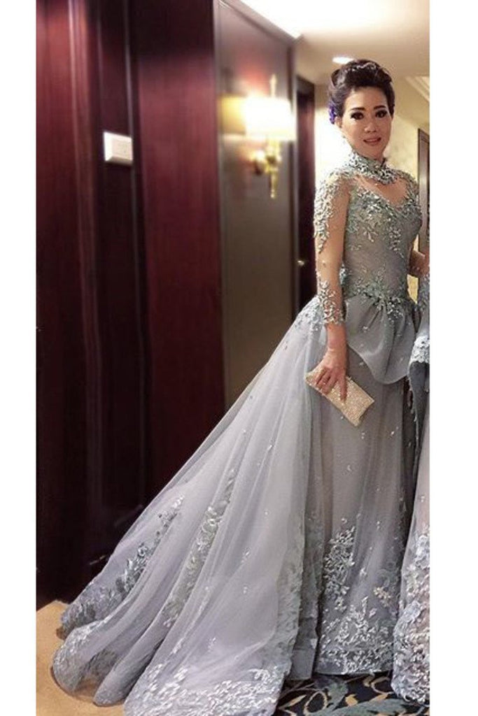 A Line Prom Dresses High Neck Long Sleeves Tulle With Applique Court