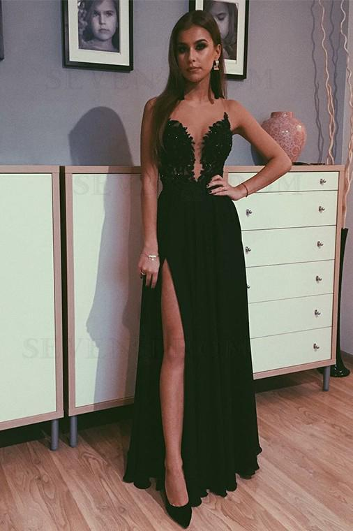 A Line Black Beads Chiffon Prom Dresses with Appliques Split Long Evening STC15608