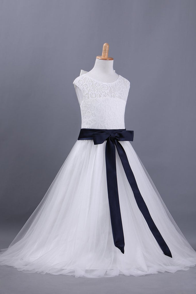 2019 Flower Girl Dresses A Line Scoop Ankle-Length Lace & Tulle