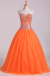 2019 Quinceanera Dresses Ball Gown Sweetheart Beaded Bodice Floor Length