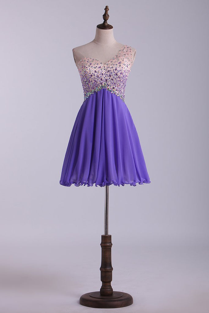 One Shoulder Homecoming Dresses A Line Tulle & Chiffon With Beading