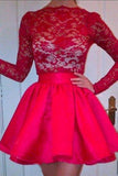 High Neckline Long Sleeves Red Lace Top Short Prom Dresses, Homecoming Dresses STC15237