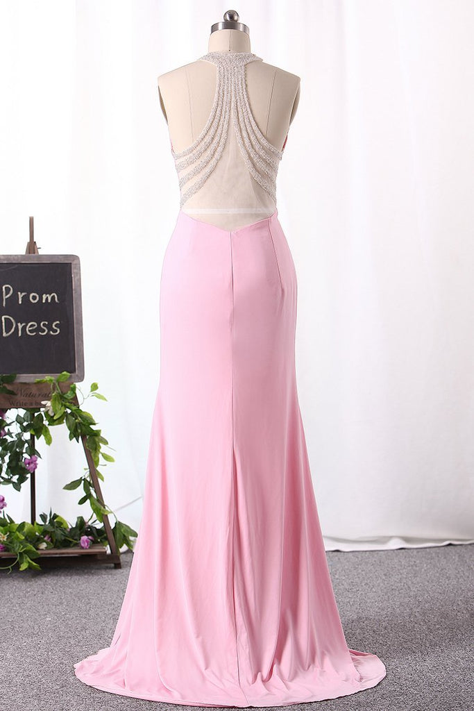 2019 Mermaid Prom Dresses Halter Spandex Zipper Up With Beadings New