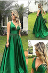 2019 A Line Straps Open Back Taffeta Prom Dresses Sweep
