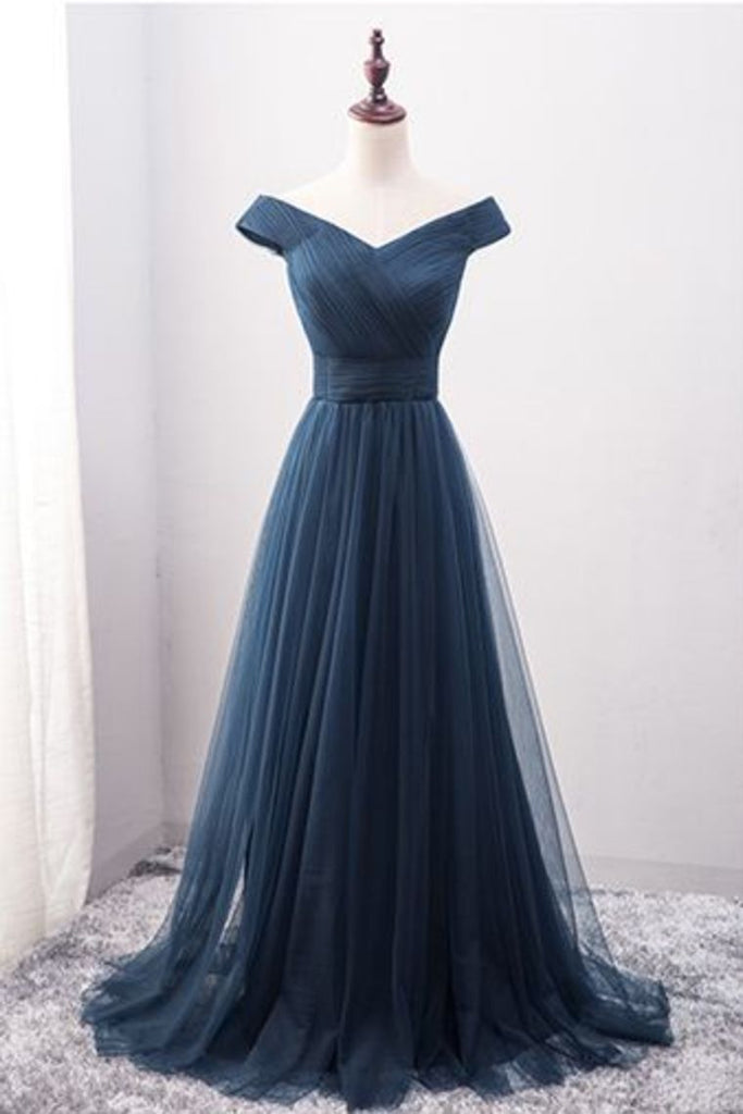 2021 Off The Shoulder A Line Prom Dresses Ruffled Bodice Tulle Sweep