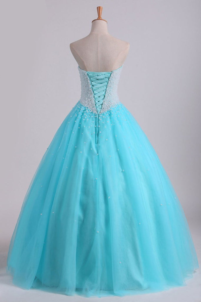 2021 Ball Gown Sweetheart Quinceanera Dresses With Pearls & Rhinestones Tulle