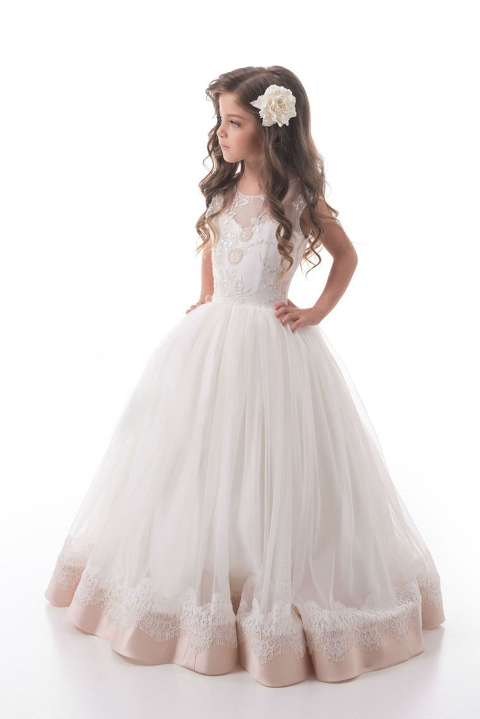 2019 A Line Scoop Tulle With Beads And Applique Flower Girl