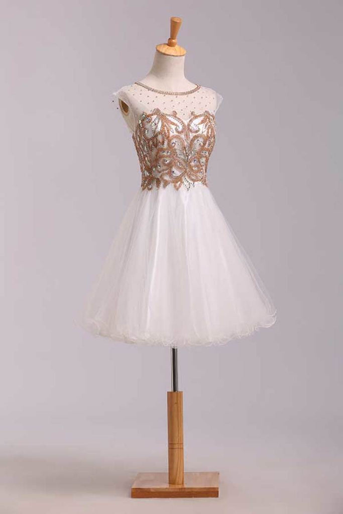 Lovely Homecoming Dresses A Line White Scoop Short/Mini Tulle