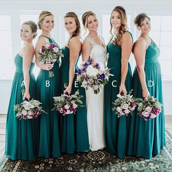 Elegant A Line Green Floor Length Bridesmaid Dresses, Long Prom STC20460