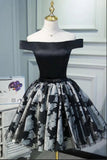 Black Satin Off the Shoulder Cute Homecoming Dresses Short Prom Dress Hoco Gowns STC14967