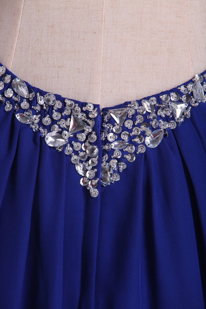 Prom Dresses Halter Open Back A Line Chiffon With Rhinestone Dark Royal Blue