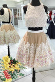 2019 Two-Piece Scoop Homecoming Dresses A Line Tulle With Handmade