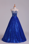 2019 New Arrival Prom Gown Embellished With Beads&Sequince Tulle Sweetheart Floor Length