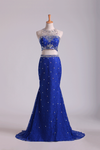 Two-Piece Scoop Mermaid Prom Dresses With Beading Lace Dark Royal