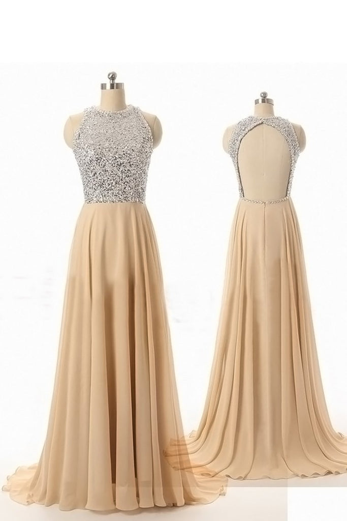 Sequined Bodice Scoop A Line Prom Dresses