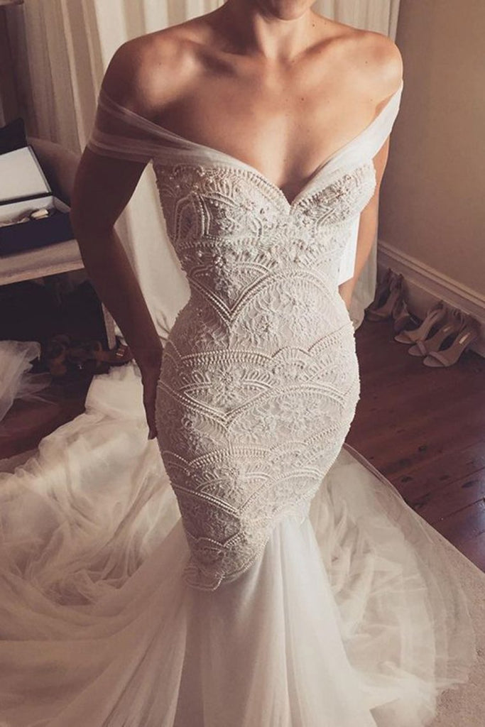 2019 New Arrival Off The Shoulder Wedding Dresses Mermaid Tulle & Lace With