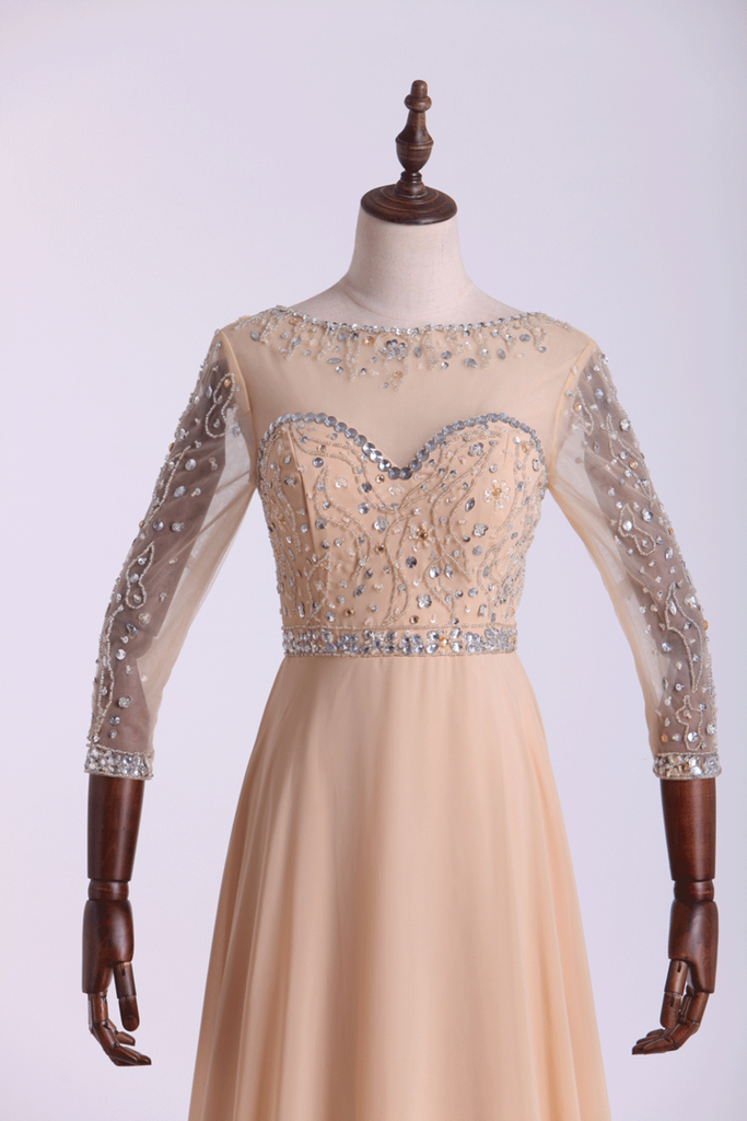 Prom Dresses Bateau 3/4 Length Sleeve A Line Chiffon With Beads