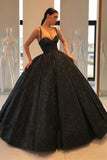 Spaghetti Straps Black Sweetheart Quinceanera Dresses, Ball Gown Sequins Prom Dresses STC15410