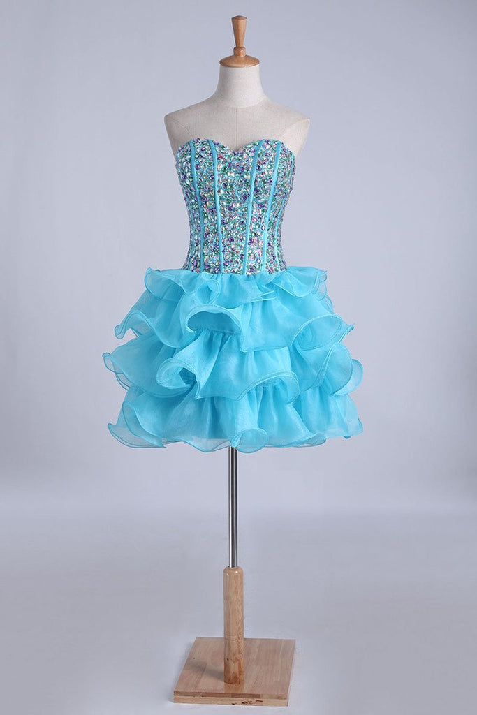 2019 Homecoming Dresses Ball Gown Sweetheart Short/Mini With Rhinestones