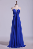2019 Open Back Prom Dress Sweetheart Dark Royal Blue Chiffon With Applique