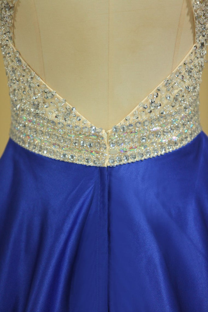 Royal Blue Scoop Open Back Beaded Bodice A Line Prom Dresses Satin & Tulle Plus