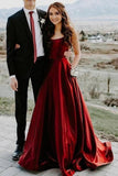 Elegant A Line Red Spaghetti Straps Satin Prom Dresses with Pockets Evening STC15638
