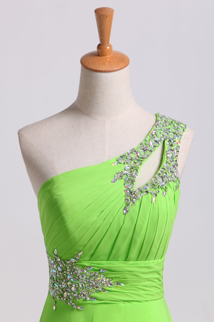 Cheap Prom Dresses Green One Shoulder Floor Length Sweep/Brush
