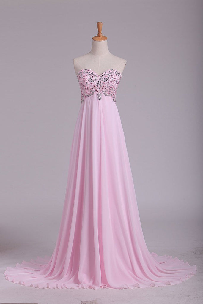 2019 Hot Prom Dresses Sweetheart With Beading Floor Length Chiffon