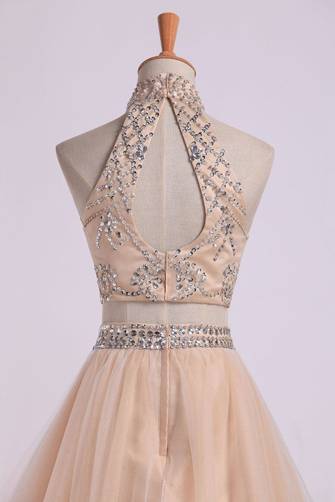 2021 Two-Piece High Neck Prom Dresses A Line Tulle With
