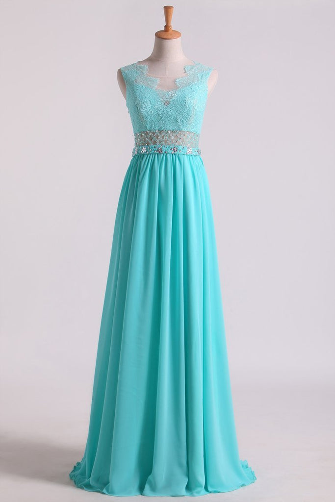 2019 Scoop A Line Exquisite Chiffon Beading Prom Dresses With