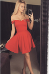 2019 Off The Shoulder A Line Cocktail Dresses Satin Short/Mini Zipper
