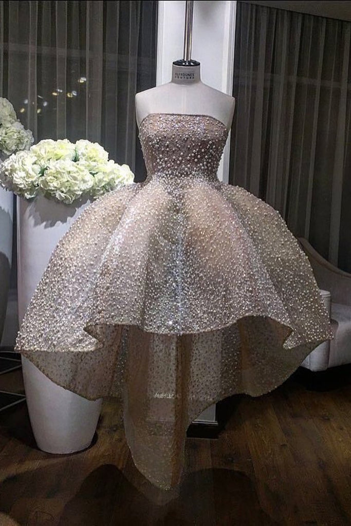 2019 Strapless Lace Ball Gown Prom Dresses With