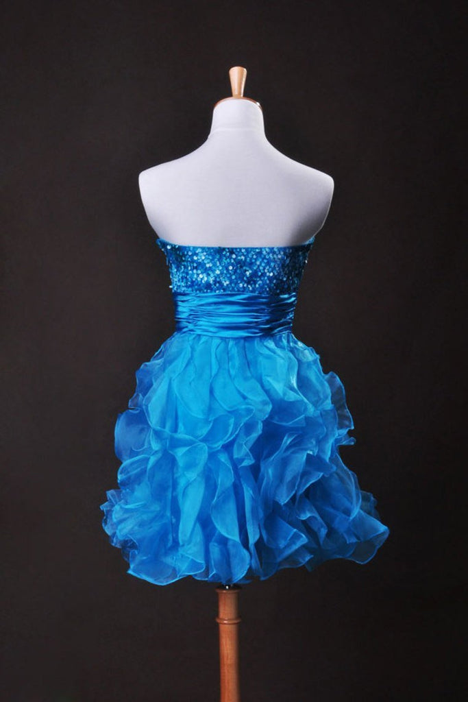 2019 Collection Blue  A Line Sweetheart  Short/Mini Organza Cz