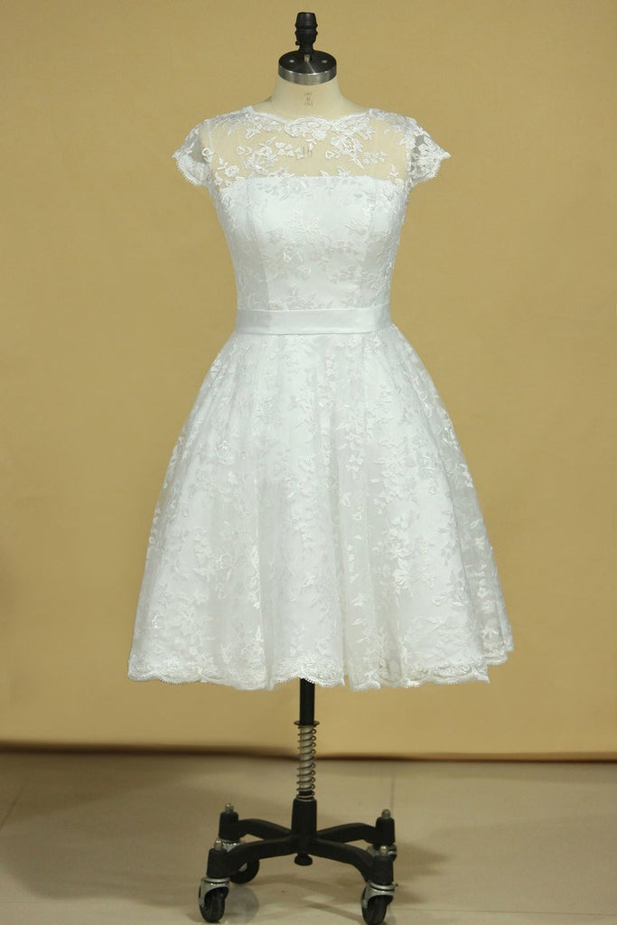 2019 Plus Size Scoop Short Sleeve Knee-Length A Line Lace With Sash Wedding Dresses