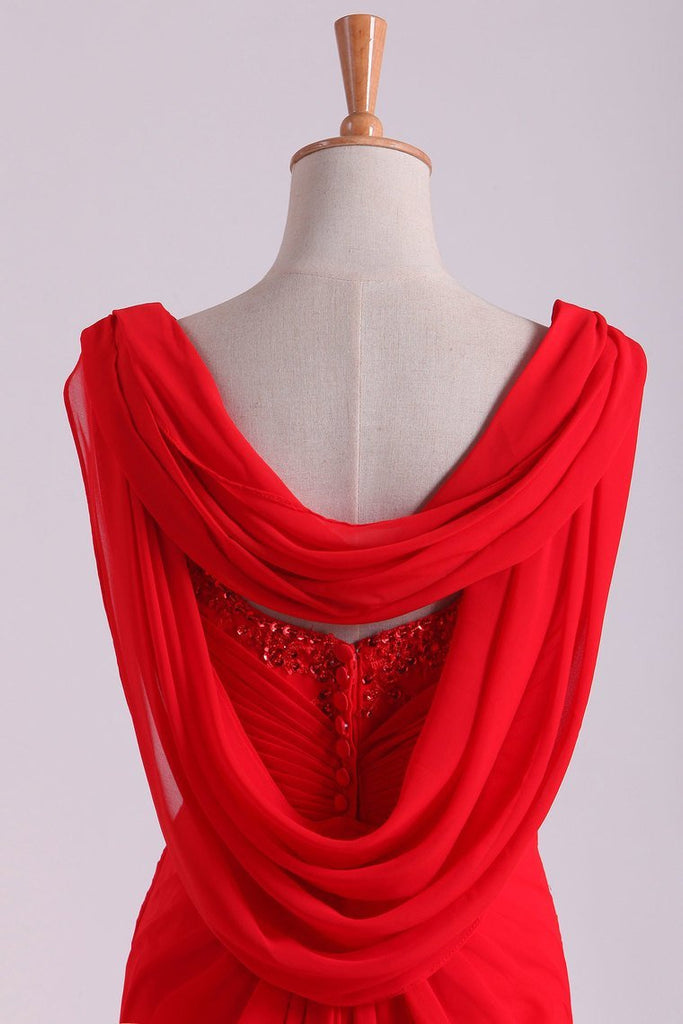 Red Chiffon Evening Dresses Ruffled Bodice Floor