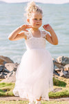 Cap Sleeves Lace Top Tulle Skirt Flower Girl Dresses, Beach Cute Little Girl Dresses STC15567
