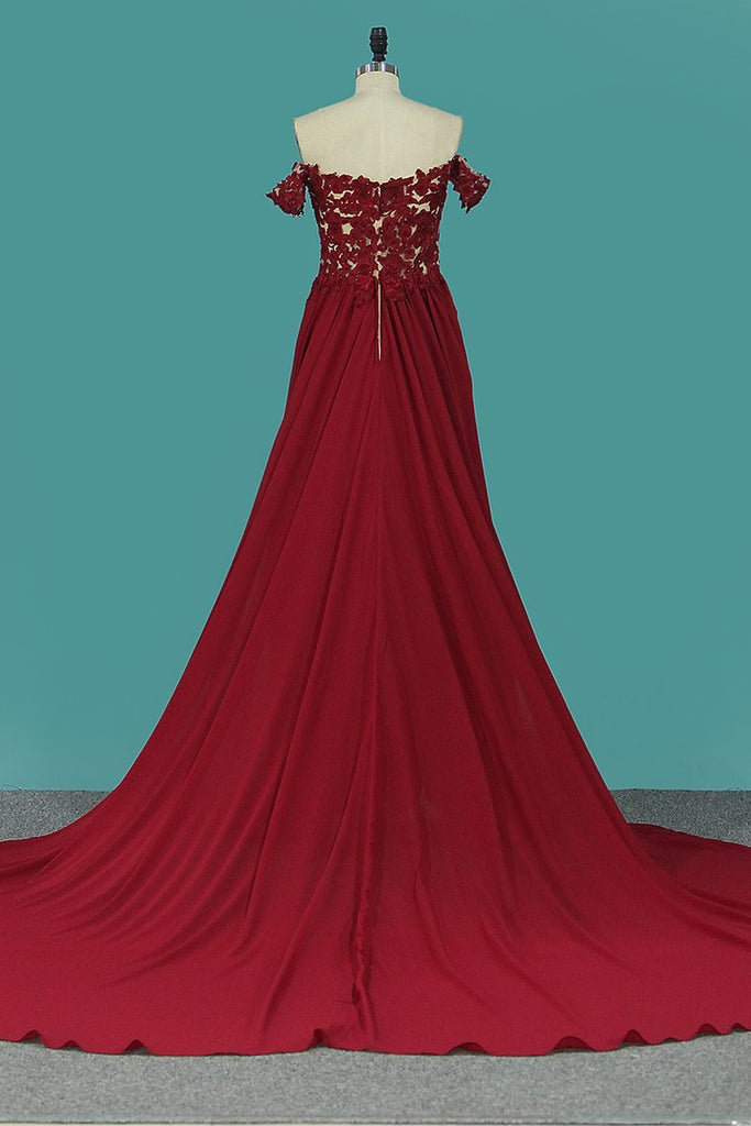 2020 A Line Chiffon Off The Shoulder Prom Dresses With Applique And
