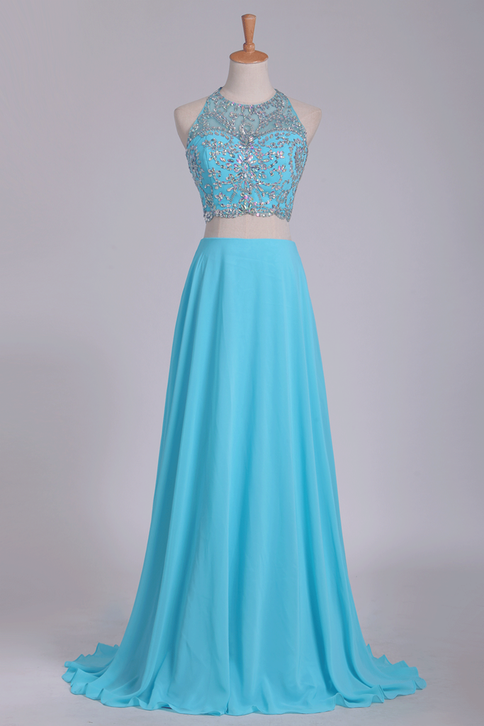 2019 Two Pieces Halter Beaded Bodice A Line Prom Dress