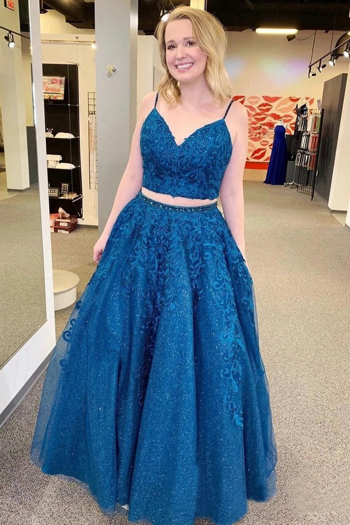 Sparkly Two Pieces Mykonos Blue Appliques Spaghetti Straps Prom STC15674