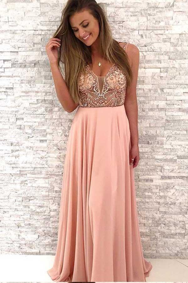 Gorgeous Beaded Pink Chiffon Long V-Neck Spaghetti Straps Evening Prom Dresses