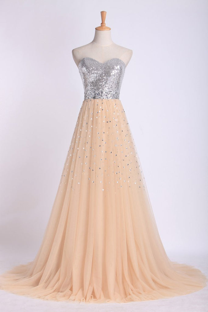 Sweetheart A Line Sweep Train Prom Dresses Tulle With