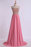 2019 Prom Gown A-Line Sweetheart Sweep/Brush With Beading&Rhinestone