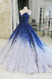 Ombre Ball Gown Royal Blue Prom Dresses With Appliques, Long V Neck Quinceanera Dresses STC15275
