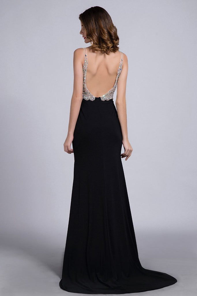 2019 Prom Dresses Full Beaded Spandex Bodice Backless Sexy Court Train Black