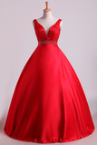 2019 Hot Red Satin Prom Dresses Straps Floor Length Beaded Bodice A Line