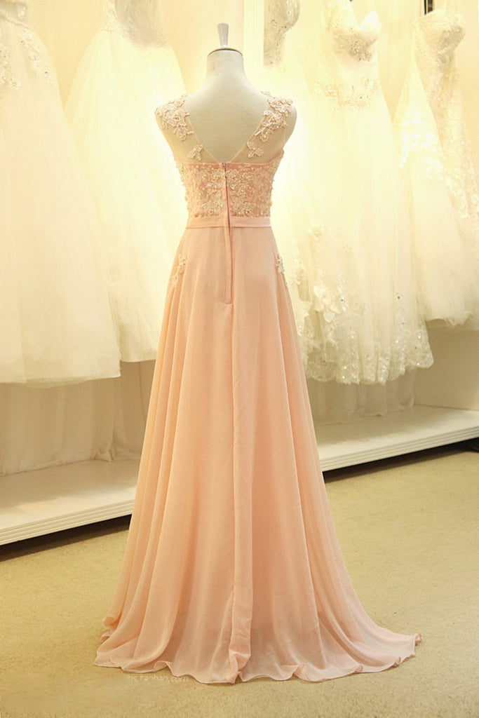 2019 Prom Dresses A Line Scoop Chiffon With Applique And Sash Sweep