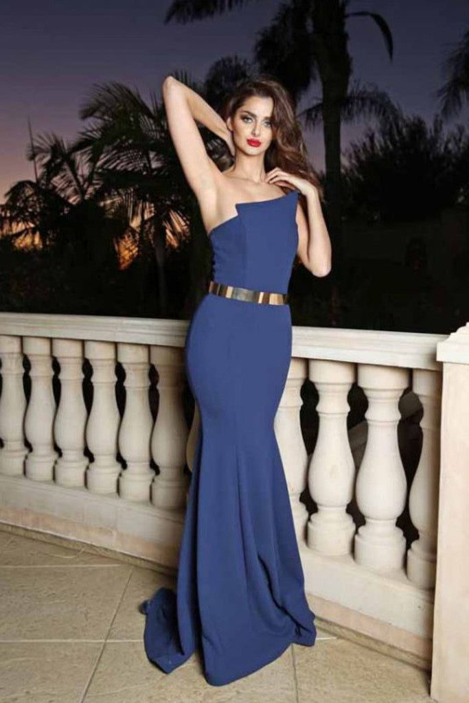 2019 Evening Dresses Mermaid Strapless Satin With Sash Sweep