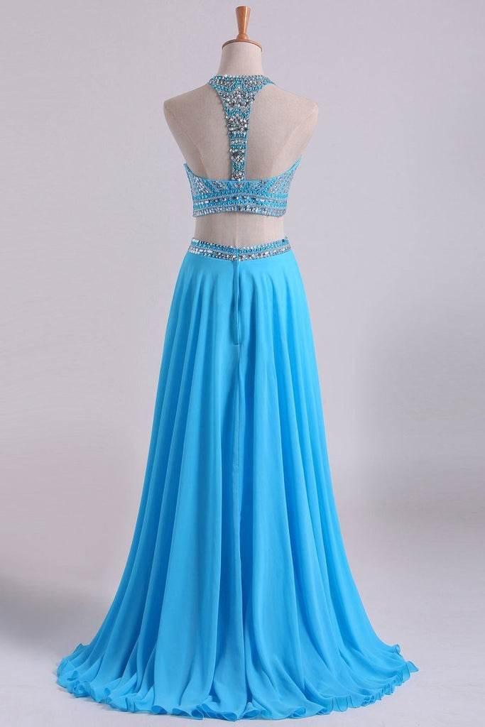 2019 Two-Piece A Line Prom Dresses Beaded Bodice Open Back Chiffon &