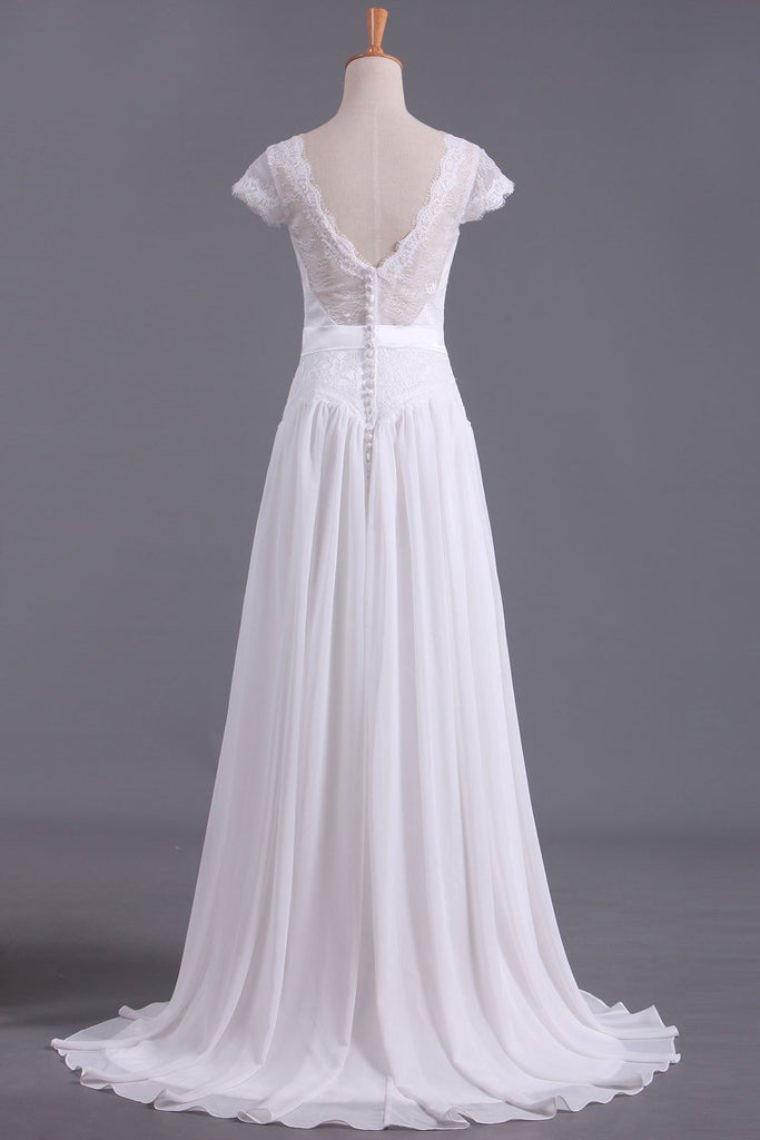 2019 Wedding Dresses V Neck Chiffon & Lace Short Sleeves Sweep